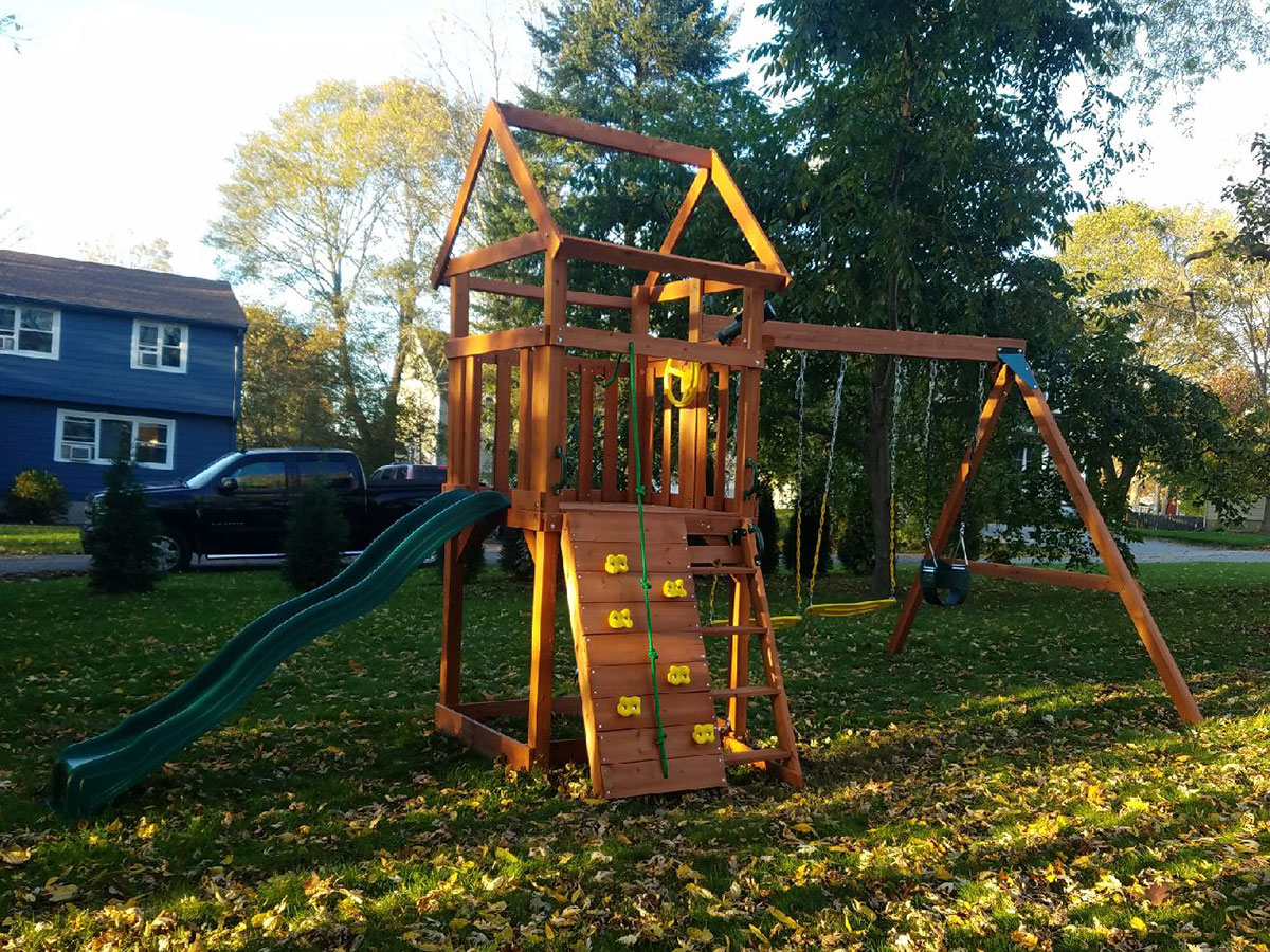 Kids Creations Cedar High Flyer Playset Assembly in North Andover, MA