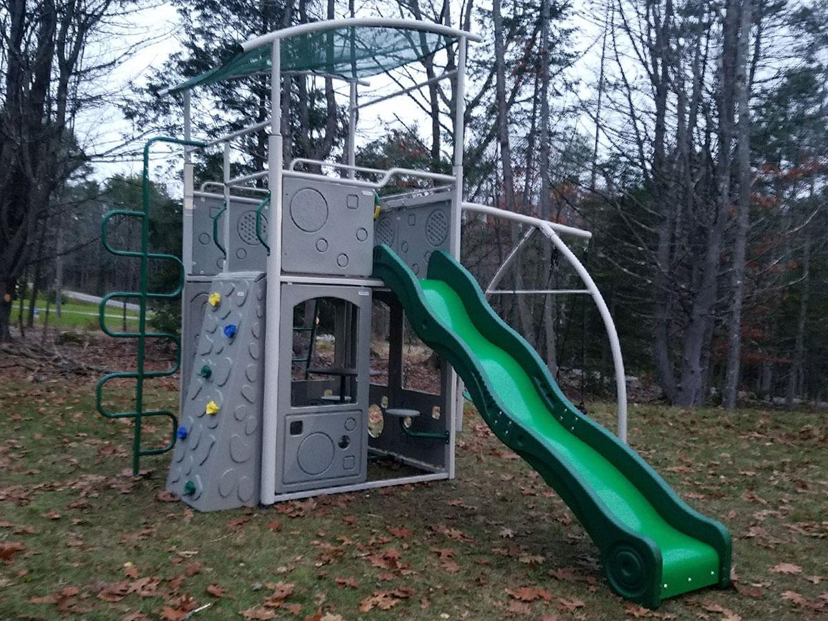 Backyard Discovery Castle Grey Metal Swing Set Installation in Brunswick, ME