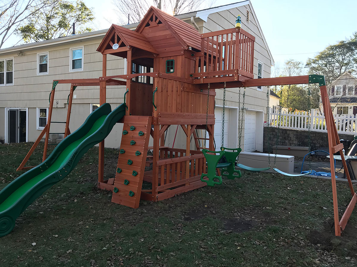 Backyard Discovery SkyFort II Playset Swing Set Assembly and Installation in Attleboro, MA